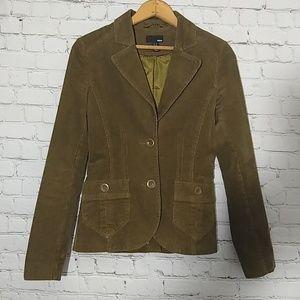 H&M Corduroy Jacket Lined Olive Green 4